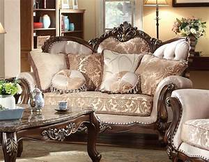 Kensington victorian beige gold chenille loveseat with for Beige chenille sectional sofa