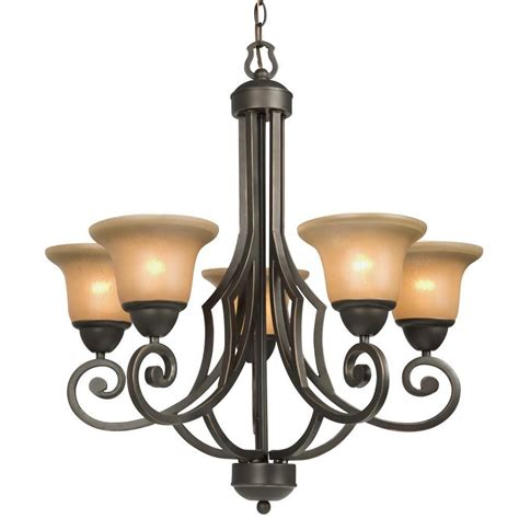 Brown Chandeliers by Filament Design Negron 5 Light Brown Copper