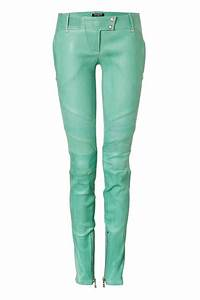 lyst balmain mint low rise skinny leather pants in green With letter pants
