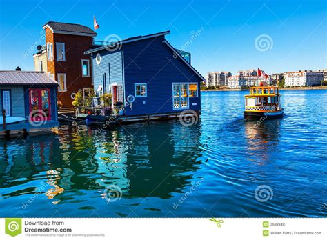 Boat Shipping Vancouver by Water Taxi Blue Houseboats Canada Stock Image