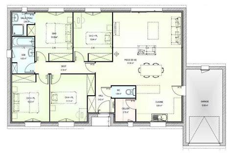 plan maison 4 chambre plan maison plain pied gratuit 4 chambres 2 plan maison