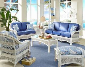 Regatta indoor white wicker and rattan 5 pc living room for Cane furniture for living room