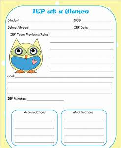 the talking owls iep at a glance freebie With iep at a glance template
