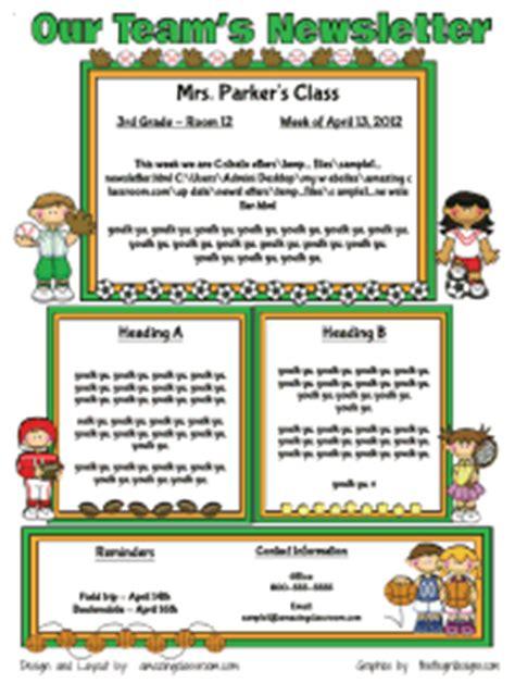 Team Newsletter Template by Custom Classroom Newsletter Printable Sle Home