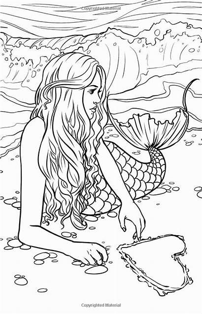 Mermaid Coloring Printable Mystical Mythical Fantasy Artist