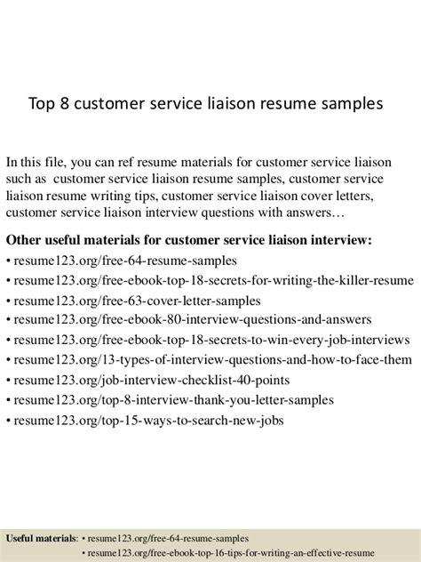 liaison resume exle top 8 customer service liaison resume sles