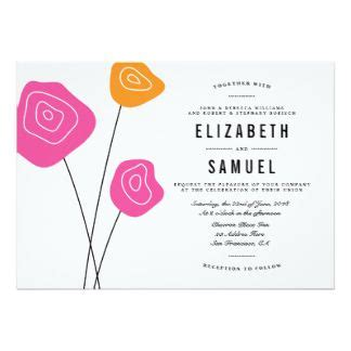 "Modern Pink Orange Flowers White Wedding Invite 5"" X 7"