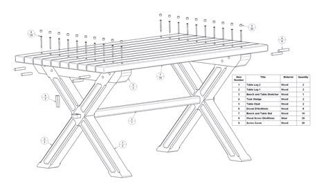 backyard table  bench set plan