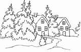 Coloring Cabin Mountain Pages Winter Christmas Snow Sketch Landscape Template Houses Scenery Tree sketch template