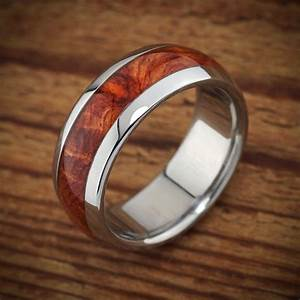 titanium wood wedding band amboyna men39s ring With mens wood wedding ring