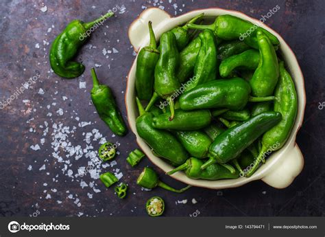 Raw Green Hot Mexican Peppers Jalapeno Pimientos Padron