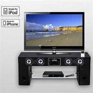 meuble tv barre de son station d39accueil ipod station With meuble tv avec barre de son integree