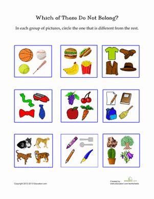 picture categorization worksheet education