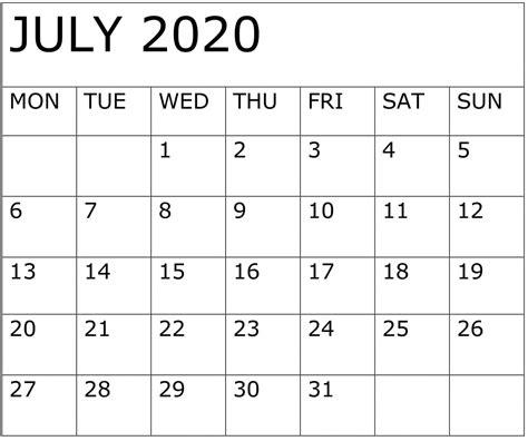 july   calendar calendar printables  templates