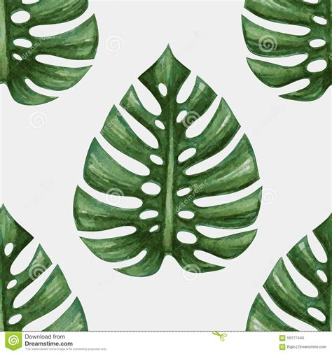 watercolor tropical palm leaves seamless pattern stock