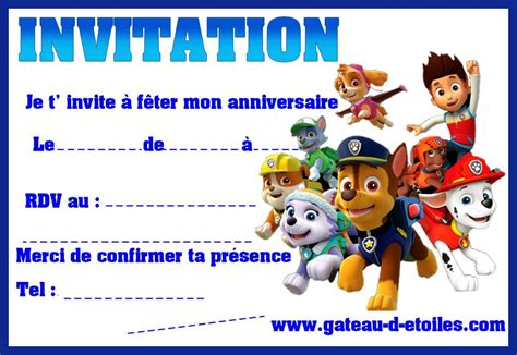 Invitation Anniversaire Pat Patrouille Gratuite Imprimer