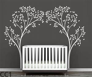 tree canopy portal wall sticker two symmetrical tree decals in With stunning white tree wall decal for nursery