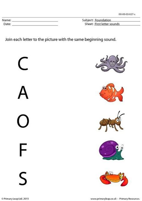 primaryleap co uk first letter sounds matching worksheet english printable worksheets