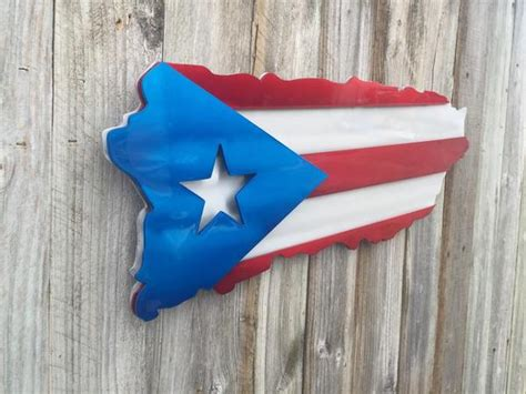 puerto rican metal art  wood flag cut