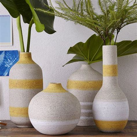 Yellow And Grey Vase by Yellow And Grey Striped Vases