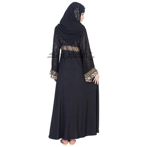 niqab frock style umbrella design burqa  golden print
