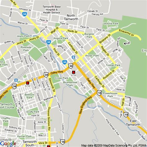 Map of Tamworth, NSW