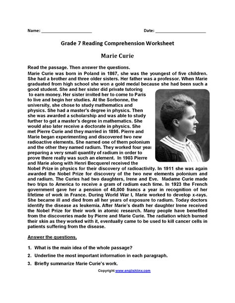 curie seventh grade reading worksheets