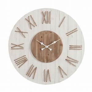 Horloge Murale Chiffre Romain : horloge chiffres romains avec corde 91 cm bois blanc 72052 achat vente horloge sur ~ Teatrodelosmanantiales.com Idées de Décoration