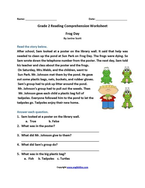 Free Printable Worksheets On Reading Comprehension Or Reading Prehension 2nd Grade Worksheet