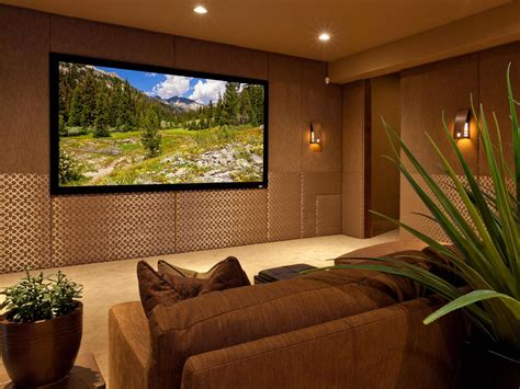 Brown And Gold Contemporary Media Room Is Stylish, Cozy