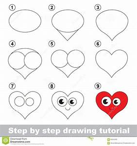 Drawing Tutorial. How To Draw A Heart Stock Vector ...
