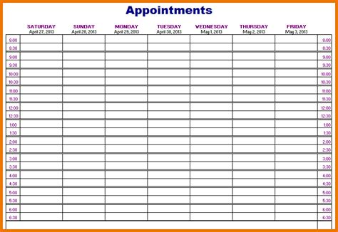 Appointment Schedule Template Weekly Appointment Schedule
