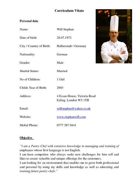 cv chef de cuisine professional chef de partie cv exle vinodomia