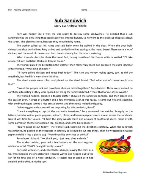 reading comprehension worksheet sub sandwich