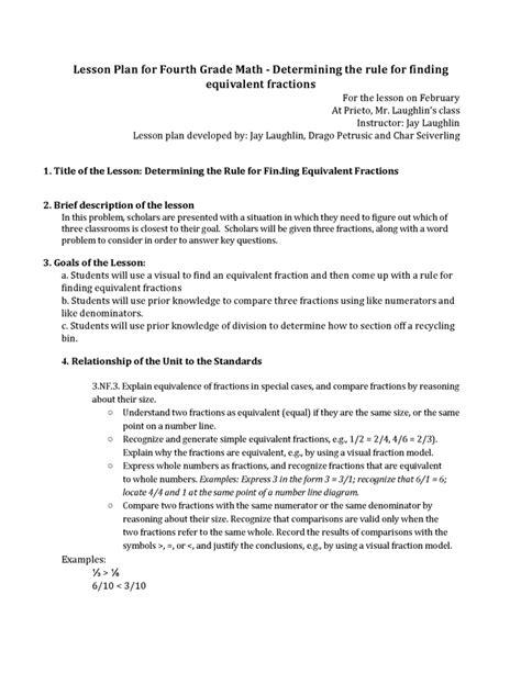 equivalent fraction lesson plan 3rd grade equivalent
