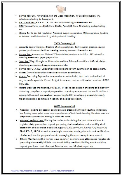 Cv Format For Experienced by B Resume Format For Experienced Page 2 Career