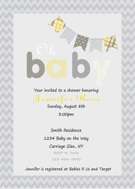 yellow  gray baby shower invitation print