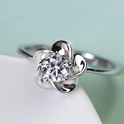 pure temperament 925 sterling silver elegant flower shaped engagement ring