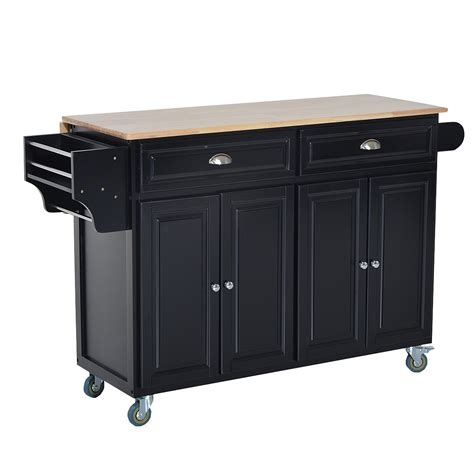 kitchen island rolling cart homcom kitchen island modern rolling storage cart on wheels with wood top black st