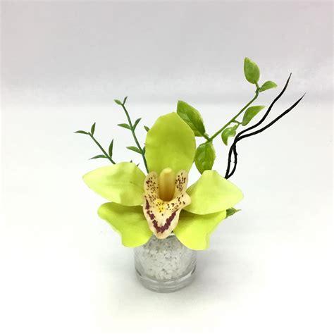 แจกันดอกไม้ปลอมขนาดเล็ก กล้วยไม้จิ๋วในแจกันแก้วขนาดเล็ก