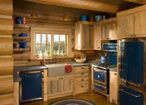 rustic kitchen love the blue retro appliances with the log wish list pinterest cabinets