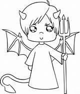 Demon Coloring Printable Devil Cartoon Children Categories sketch template