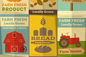 Free Campaign Poster Templates Set Of Posters For Organic Farm Food Illustrations