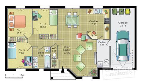 plan de maison 3 chambres salon pavillon de plainpied dé du plan de pavillon de