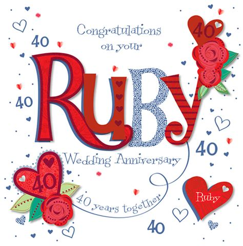 40th wedding anniversary handmade ruby 40th wedding anniversary greeting card cards love kates