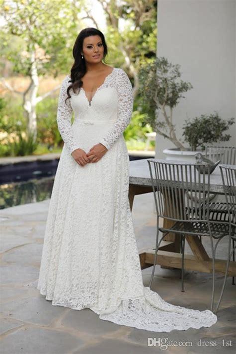 discount super  size long sleeve lace wedding dresses