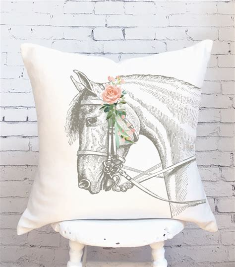 horse pillows  farmhouse charm horses heels