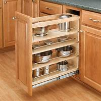 "kitchen cabinet organizer Rev-A-Shelf 3-Tier Pull-Out Base Organizer 5"" Wood 448-BC-5C 