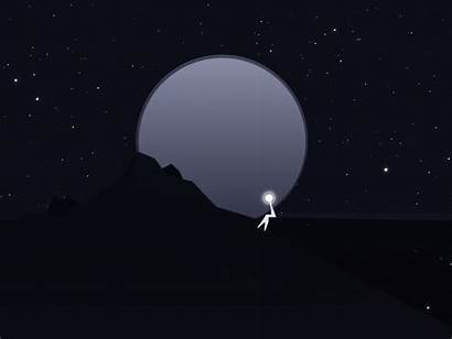 Lonely Night Dribbble Moon Starry