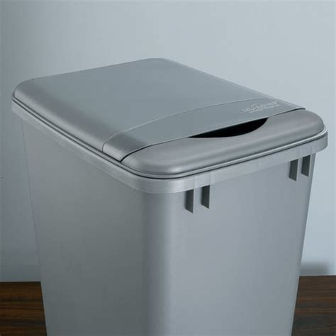 Cabinet Trash Can With Lid by Rev A Shelf Flip Up Lid For 35 Quart Container Silver Rv